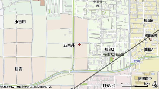 〒636-0131 奈良県生駒郡斑鳩町服部の地図