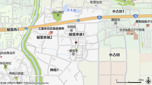 〒636-0141 奈良県生駒郡斑鳩町稲葉車瀬の地図