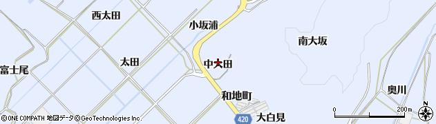 愛知県田原市和地町(中大田)周辺の地図