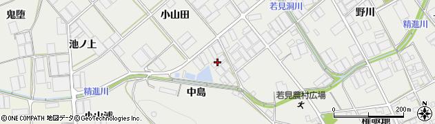愛知県田原市若見町(中島)周辺の地図