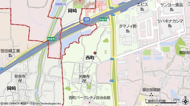 〒639-1038 奈良県大和郡山市西町の地図
