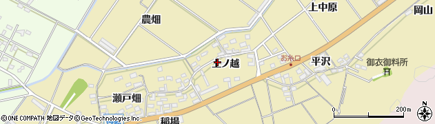 愛知県田原市亀山町(上ノ越)周辺の地図