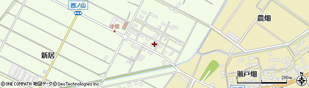 愛知県田原市西山町(中里)周辺の地図