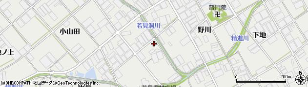 愛知県田原市若見町(野川)周辺の地図