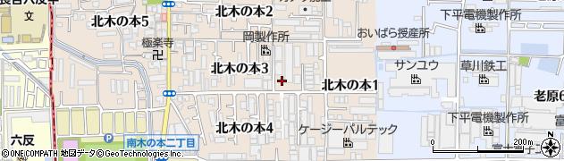 大阪府八尾市北木の本周辺の地図