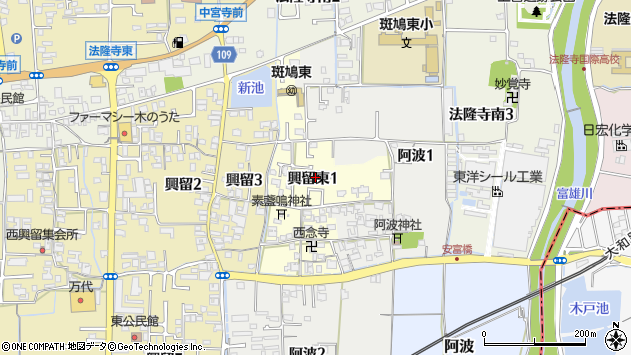 〒636-0121 奈良県生駒郡斑鳩町興留東の地図