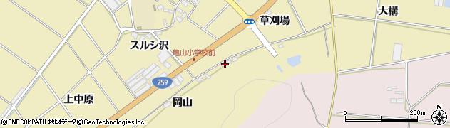愛知県田原市亀山町(岡山)周辺の地図