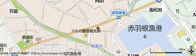 愛知県田原市池尻町(向山)周辺の地図