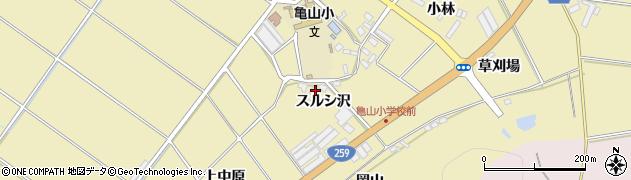 愛知県田原市亀山町(スルシ沢)周辺の地図