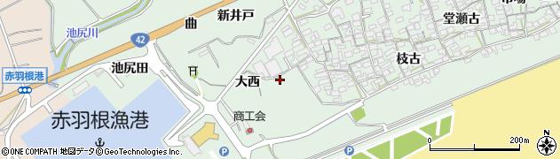 愛知県田原市赤羽根町(大西)周辺の地図