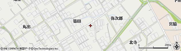 愛知県田原市若見町(築田)周辺の地図