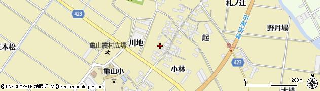 愛知県田原市亀山町(川地)周辺の地図
