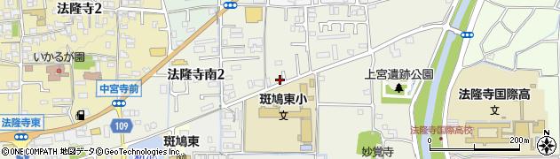 奈良県斑鳩町(生駒郡)法隆寺南周辺の地図
