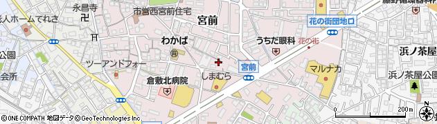 岡山県倉敷市宮前周辺の地図