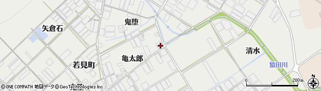 愛知県田原市若見町(亀太郎)周辺の地図