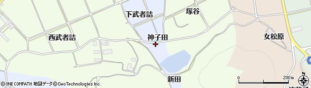 愛知県田原市小塩津町(神子田)周辺の地図