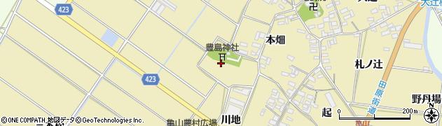 愛知県田原市亀山町(十七畑)周辺の地図