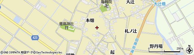 愛知県田原市亀山町(本畑)周辺の地図