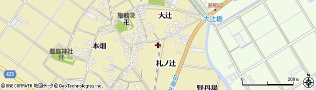 愛知県田原市亀山町(札ノ辻)周辺の地図