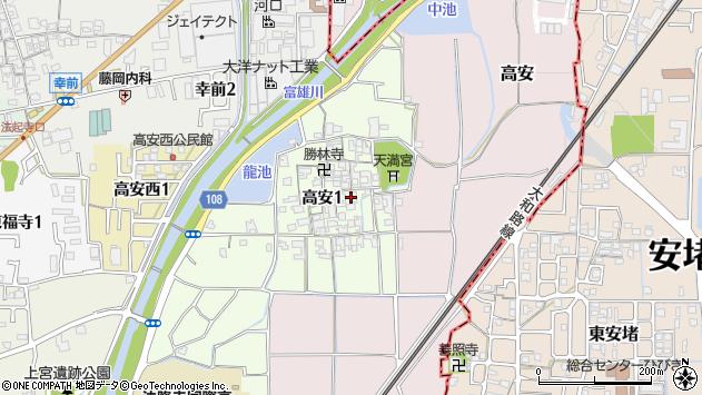 〒636-0104 奈良県生駒郡斑鳩町高安の地図