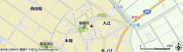 愛知県田原市亀山町(地ノ神)周辺の地図