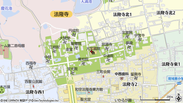 〒636-0115 奈良県生駒郡斑鳩町法隆寺山内の地図