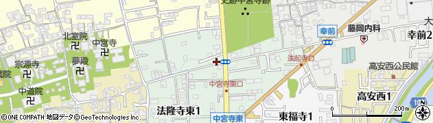 奈良県斑鳩町(生駒郡)法隆寺東周辺の地図