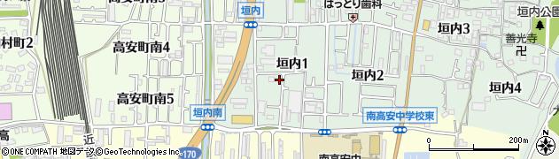 大阪府八尾市垣内周辺の地図