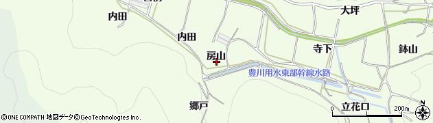 愛知県田原市山田町(房山)周辺の地図