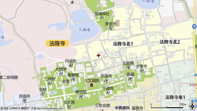 〒636-0111 奈良県生駒郡斑鳩町法隆寺北の地図