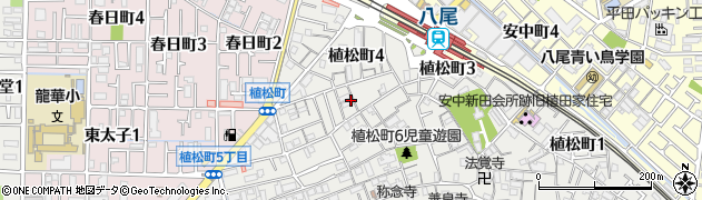 大阪府八尾市植松町周辺の地図
