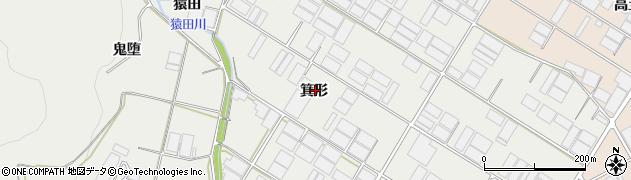 愛知県田原市若見町(箕形)周辺の地図