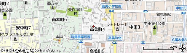 大阪府八尾市高美町周辺の地図