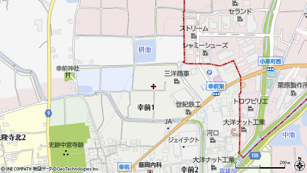 〒636-0103 奈良県生駒郡斑鳩町幸前の地図