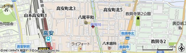 大阪府八尾市高安町北周辺の地図