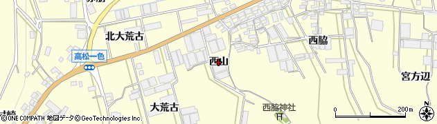 愛知県田原市高松町(西山)周辺の地図