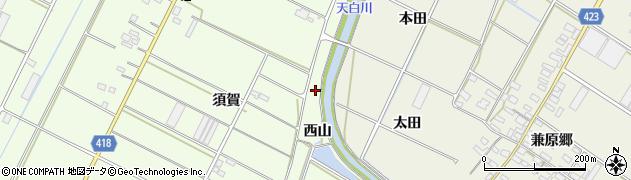 愛知県田原市西山町(西田)周辺の地図