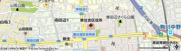 大阪府大阪市東住吉区周辺の地図