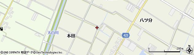 愛知県田原市中山町(本田)周辺の地図
