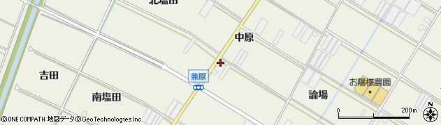 愛知県田原市中山町(中原)周辺の地図