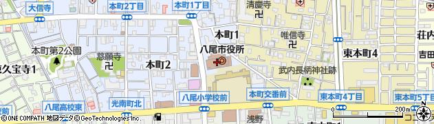 大阪府八尾市周辺の地図