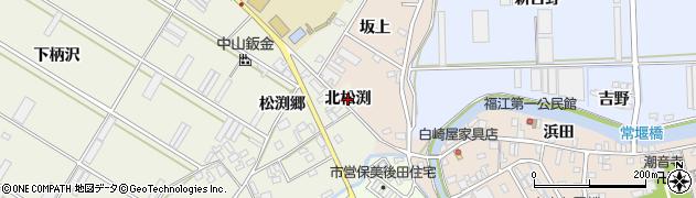 愛知県田原市中山町(北松渕)周辺の地図