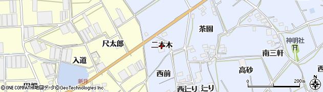 愛知県田原市大草町(二本木)周辺の地図