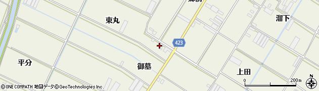 愛知県田原市中山町(御墓)周辺の地図
