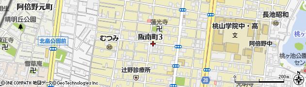 大阪府大阪市阿倍野区阪南町周辺の地図