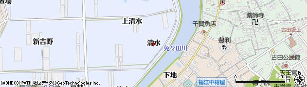 愛知県田原市向山町(清水)周辺の地図
