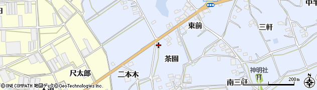 愛知県田原市大草町(茶園)周辺の地図