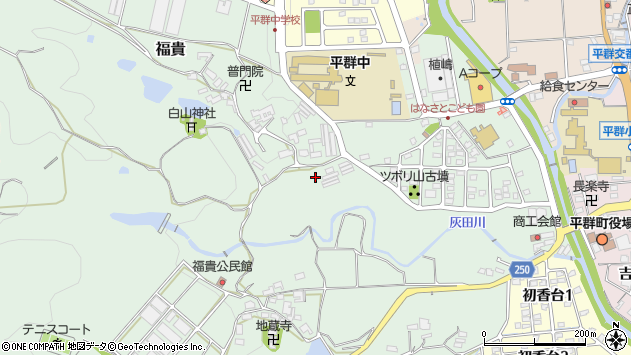 〒636-0936 奈良県生駒郡平群町福貴の地図