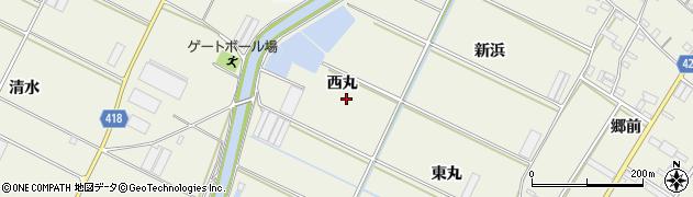 愛知県田原市中山町(西丸)周辺の地図