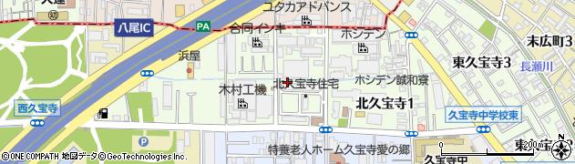 大阪府八尾市北久宝寺周辺の地図